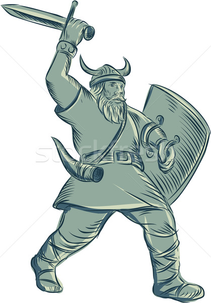 Viking Warrior Striking Sword Etching Stock photo © patrimonio