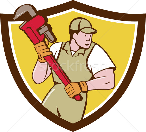 Plumber Holding Pipe Wrench Crest Cartoon Stock photo © patrimonio