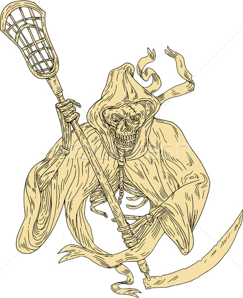 Grim Reaper Lacrosse Stick Drawing Stock photo © patrimonio