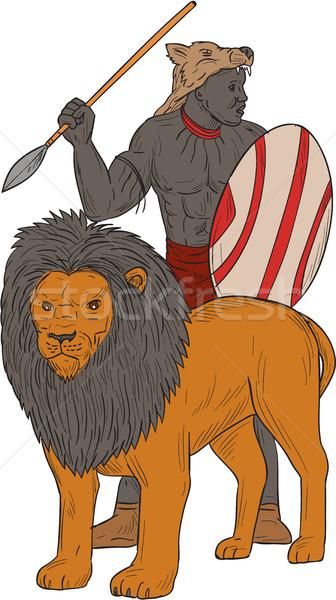 Africaine guerrier lance chasse lion dessin Photo stock © patrimonio