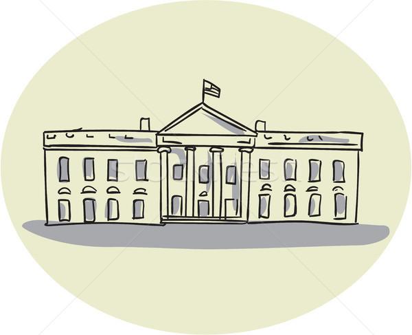 Casa blanca edificio oval dibujo boceto estilo Foto stock © patrimonio