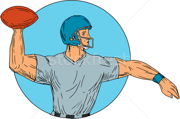Quarterback QB Throwing Ball Motion Circle Drawing Stock photo © patrimonio