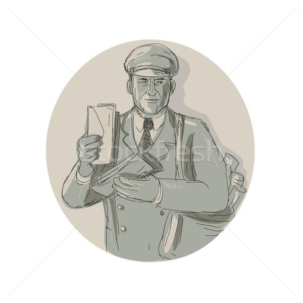 Vintage Mailman Delivering Letters Watercolor Stock photo © patrimonio