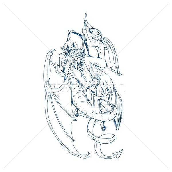 St. George Slay Dragon Drawing Stock photo © patrimonio