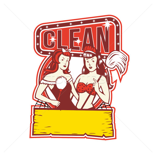Twin Cleaners Clean 1950s Retro Stock photo © patrimonio