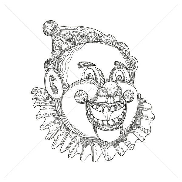 Vintage Circus Clown Head Doodle Stock photo © patrimonio