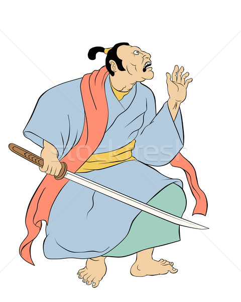 Samurai warrior with katana sword fighting stance Stock photo © patrimonio