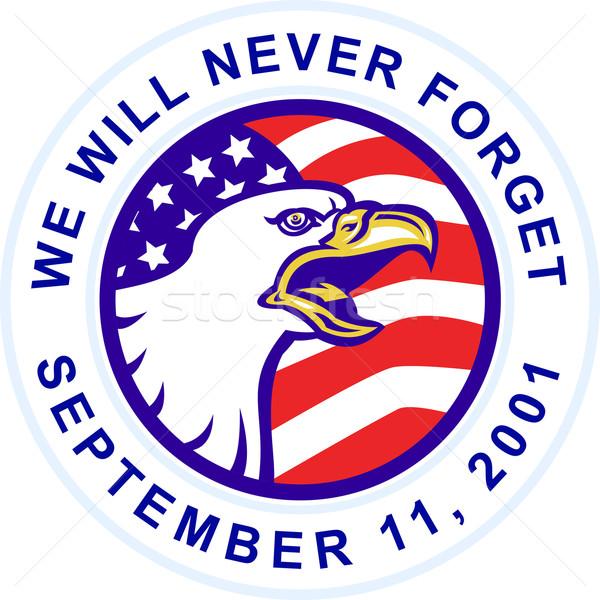American Bald eagle screaming with USA flag 9-11 Stock photo © patrimonio