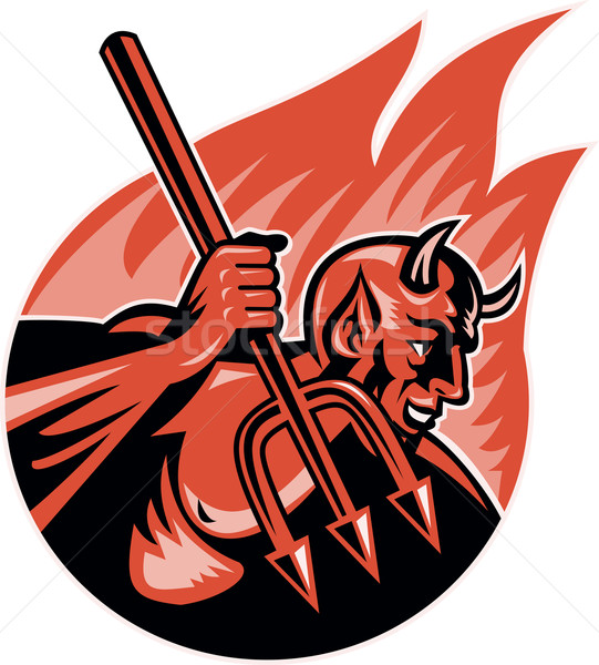 Devil Demon With Trident Pitchfork Stock photo © patrimonio