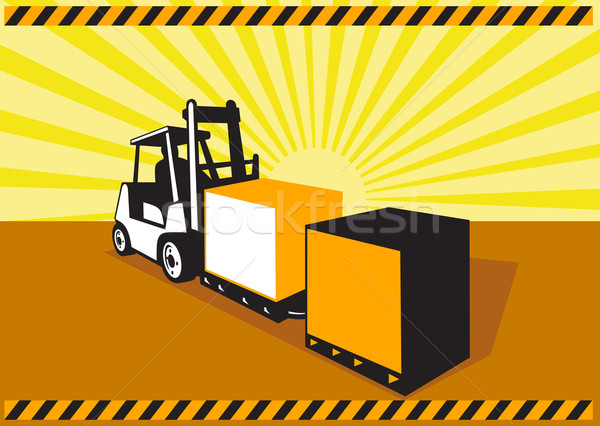 Forklift Truck Materials Handling Retro Stock photo © patrimonio