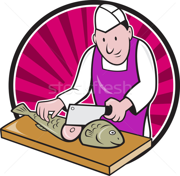 Sushi Chef Butcher Fishmonger Cartoon Stock photo © patrimonio