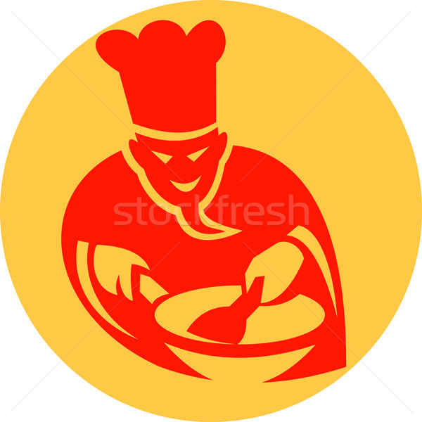 Demon cook with wok icon Stock photo © patrimonio