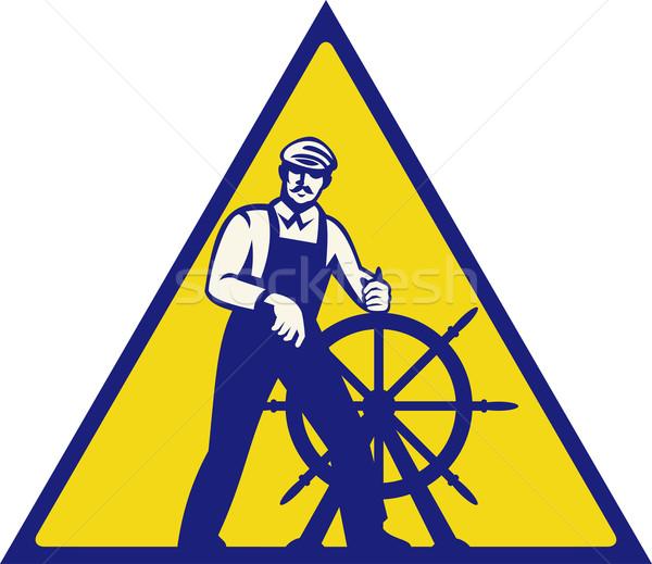 Sea captain at the helm Stock photo © patrimonio