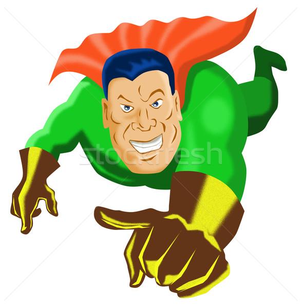 super hero pointing flying between buildings Stock photo © patrimonio