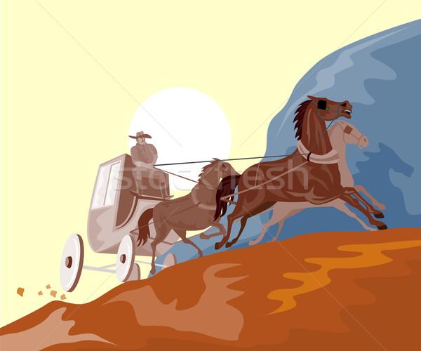 Wild West Stagecoach Retro Stock photo © patrimonio