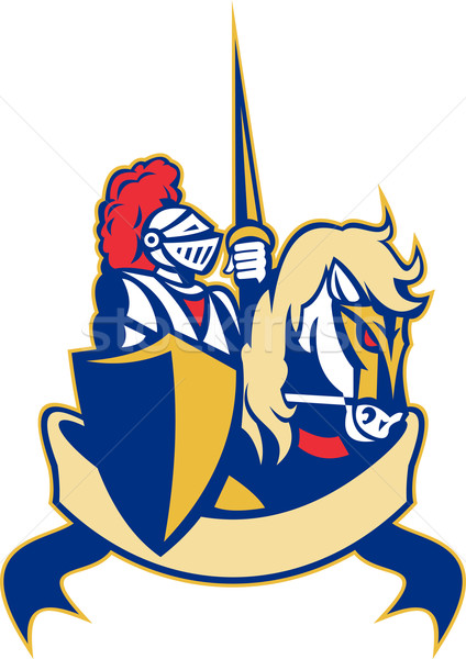 Knight on horse with lance and shield  Stock photo © patrimonio