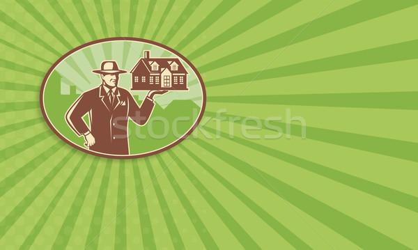 Realtor Real Estate Salesman House Retro Stock photo © patrimonio