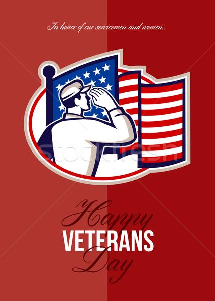 Nap modern amerikai katona kártya üdvözlőlap Stock fotó © patrimonio