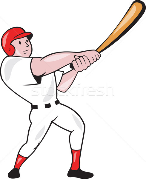 Baseball Player Swinging Bat Cartoon Stock photo © patrimonio