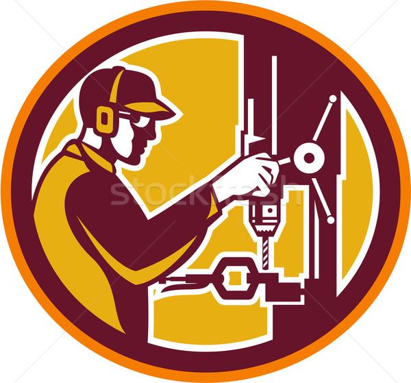 Worker Drilling Drill Press Retro Circle Stock photo © patrimonio