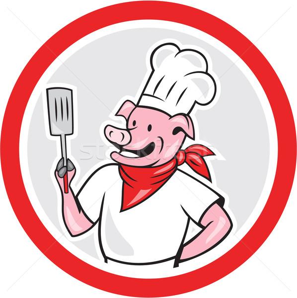 Suino chef cuoco spatola cerchio Foto d'archivio © patrimonio