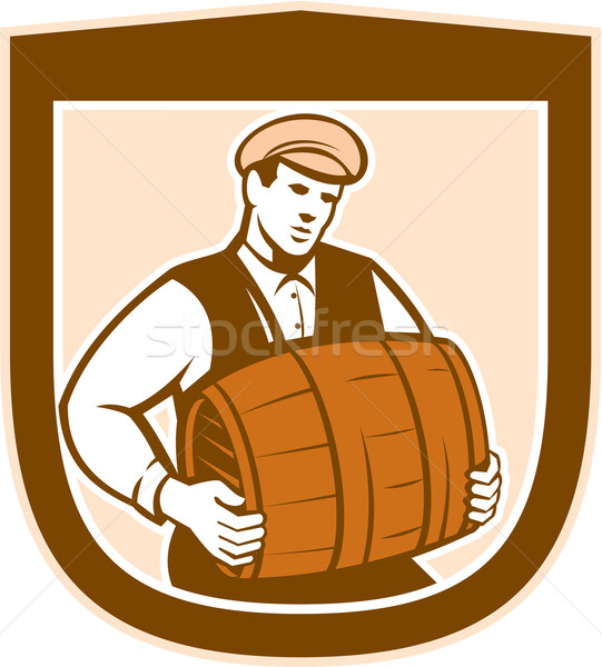 Bartender Carrying Keg Shield Retro Stock photo © patrimonio