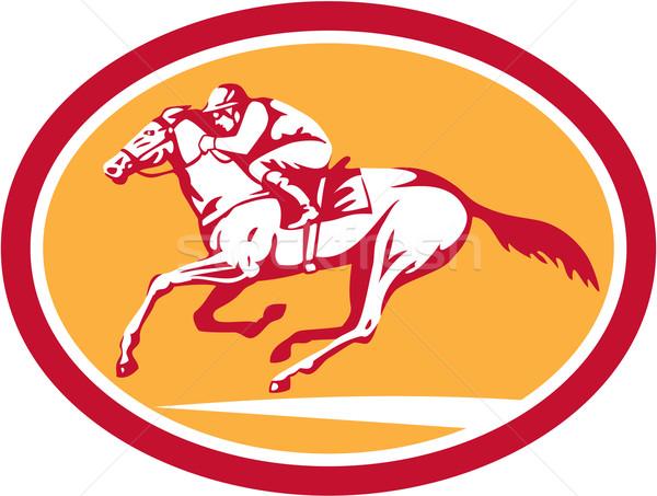Zsoké lovaglás lóverseny kör retro illusztráció Stock fotó © patrimonio