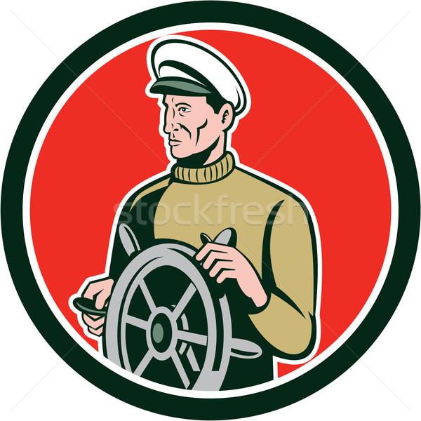 Fisherman Sea Captain Wheel Circle Retro Stock photo © patrimonio