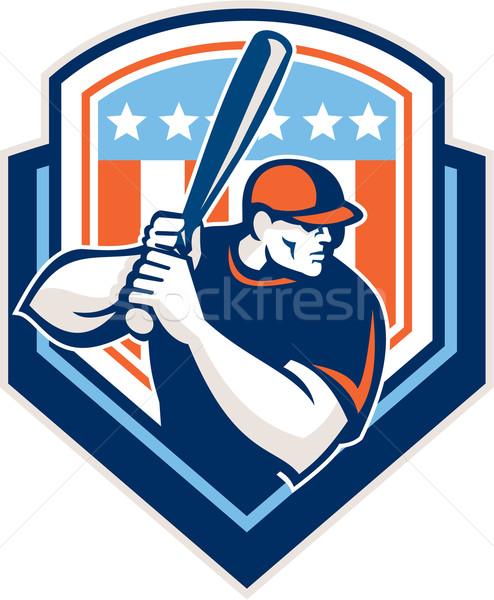 American Baseball Batter Hitter Shield Retro Stock photo © patrimonio