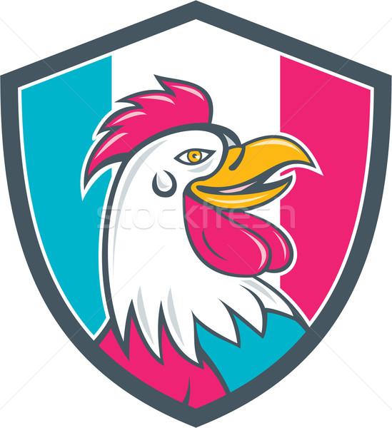 French Rooster Head France Flag Shield Cartoon Stock photo © patrimonio