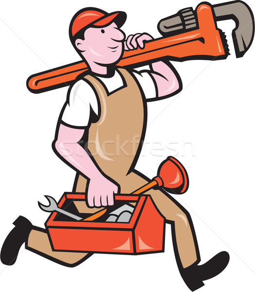 Plumber Carrying Monkey Wrench Toolbox Running Stock photo © patrimonio
