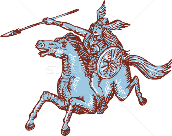 Valkyrie Warrior Riding Horse Spear Etching Stock photo © patrimonio