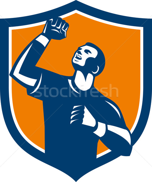 Athlete Fist Pump Crest Retro Stock photo © patrimonio
