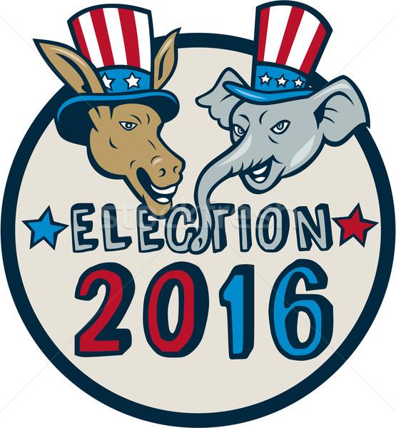 US Election 2016 Mascot Donkey Elephant Circle Cartoon Stock photo © patrimonio
