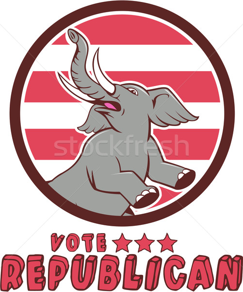 Oy cumhuriyetçi fil maskot daire karikatür Stok fotoğraf © patrimonio