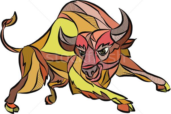 Raging Bull Charging Drawing Stock photo © patrimonio