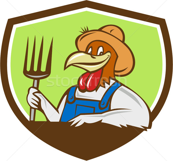 Pollo agricultor cresta Cartoon ilustración Foto stock © patrimonio