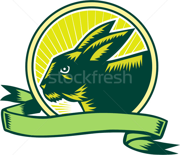 Bunny Head Circle Ribbon Woodcut Stock photo © patrimonio