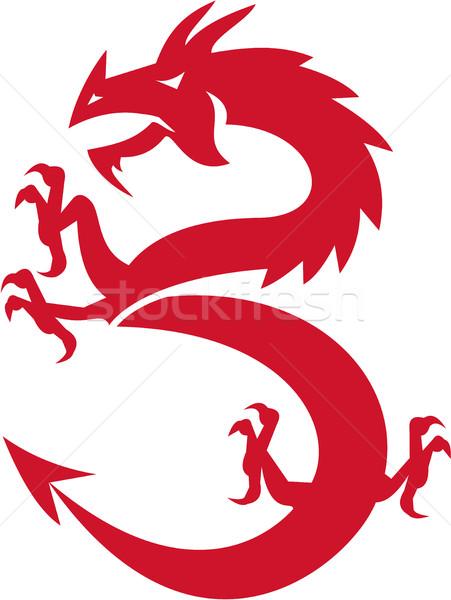 Red Dragon Prancing Silhouette Retro Stock photo © patrimonio
