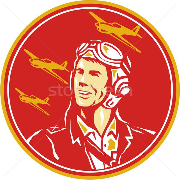 World War 2 Pilot Airman Fighter Plane Circle Retro Stock photo © patrimonio