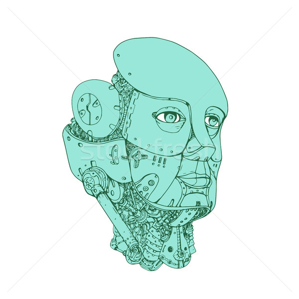 Humanoid Robot Head Female Monoline Stock photo © patrimonio