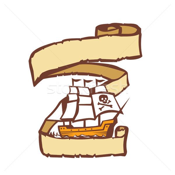 Piraat schip zeilen scroll retro illustratie Stockfoto © patrimonio