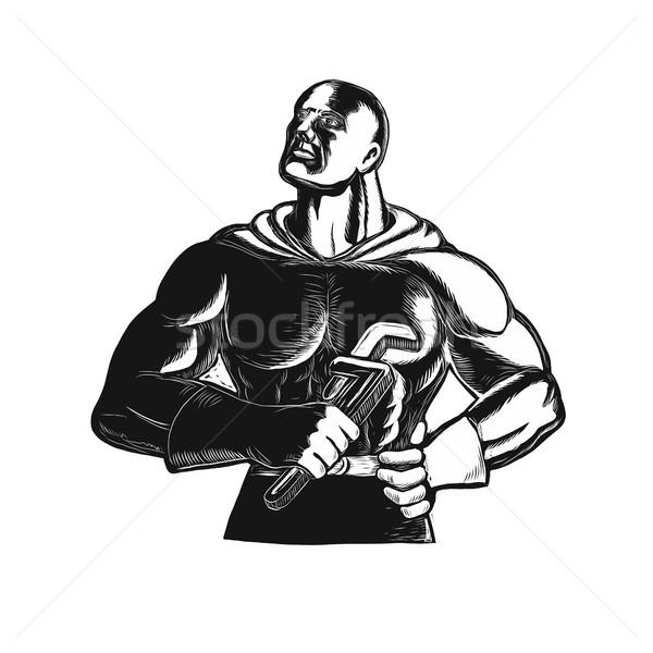 Superhero Plumber With Wrench Woodcut Stock photo © patrimonio