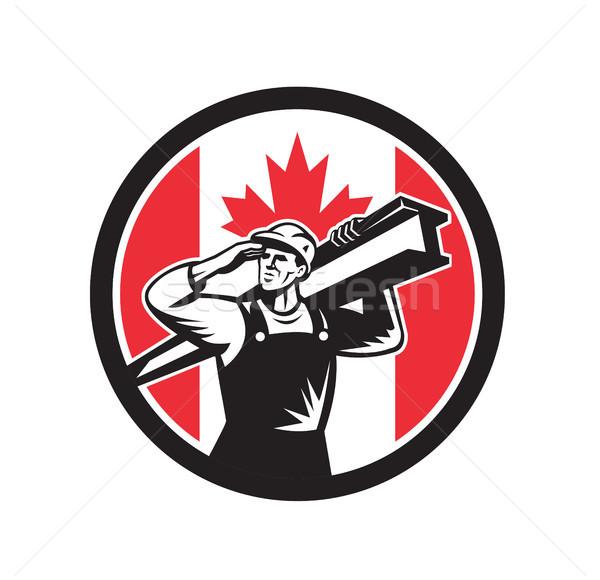 Canadian Construction Worker Canada Flag Icon Stock photo © patrimonio
