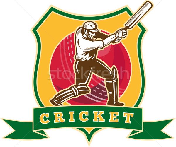 cricket player batsman batting ball shield Stock photo © patrimonio