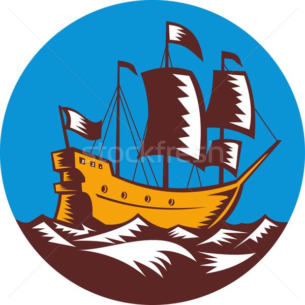 Galleon tall ship sailing retro woodcut Stock photo © patrimonio