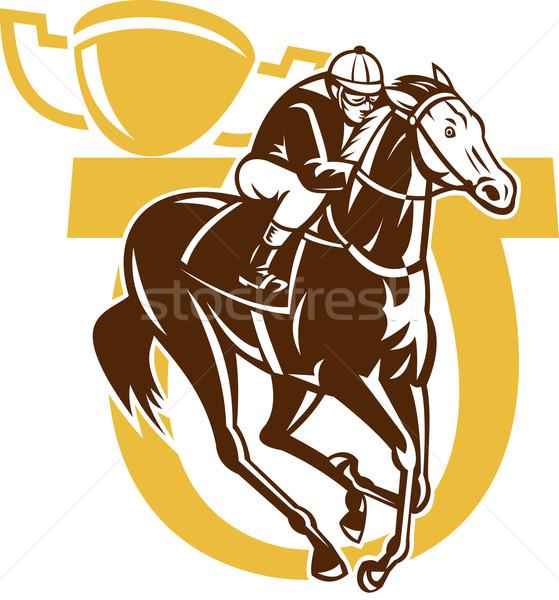 Cheval course jockey course Horseshoe tasse Photo stock © patrimonio