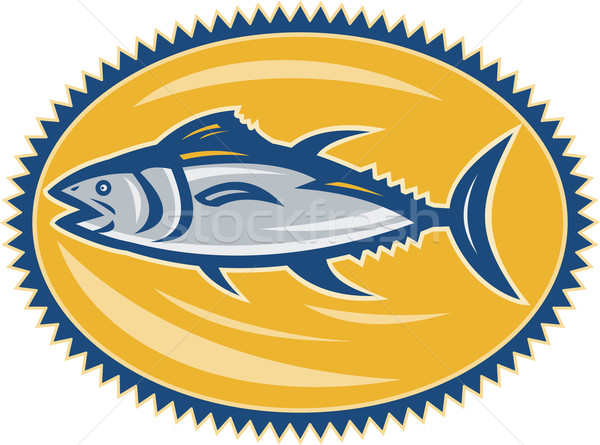 Stockfoto: Blauw · vin · kant · retro · illustratie · tonijn
