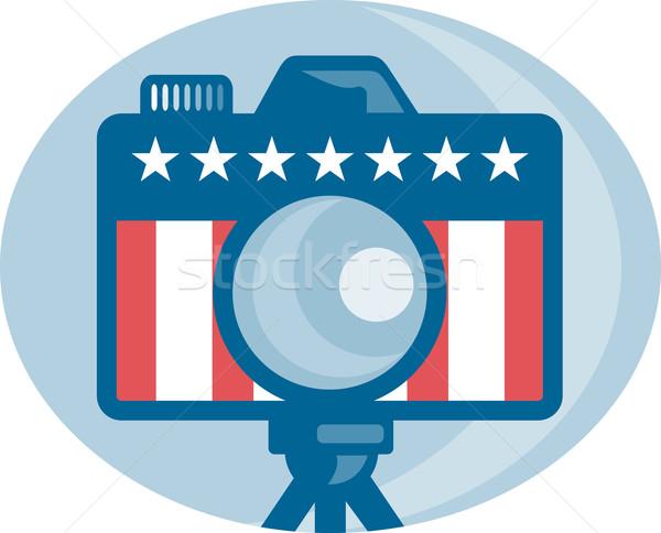 Amerykański dslr kamery gwiazdki banderą Zdjęcia stock © patrimonio