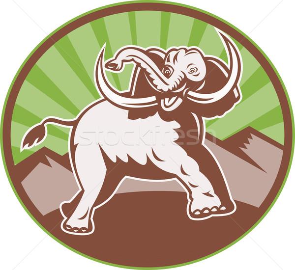 Elephant Giant Tusk Side Retro Circle Stock photo © patrimonio
